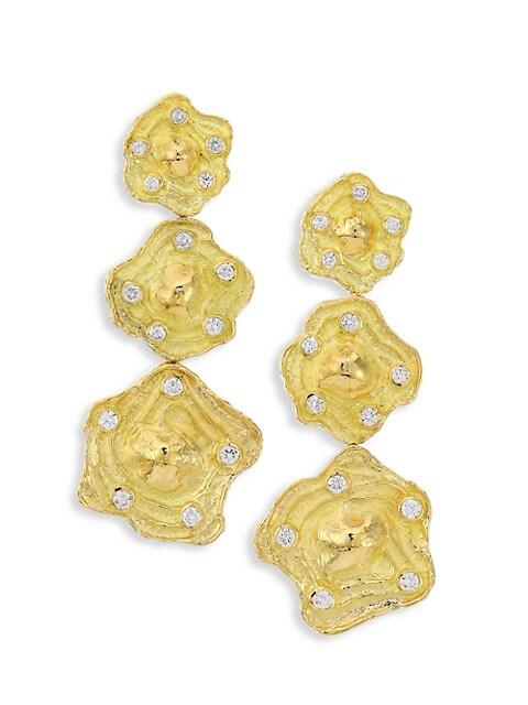 Wave 18K Yellow Gold & Diamond Triple-Drop Clip-On Earrings