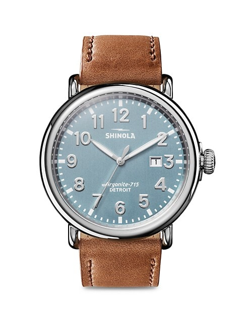 The Runwell Three Hand Date Stainless Steel & Leather-Strap Watch