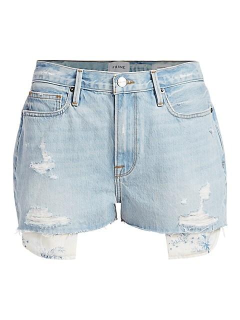 Le Beau High-Rise Peeking Pocket Denim Shorts