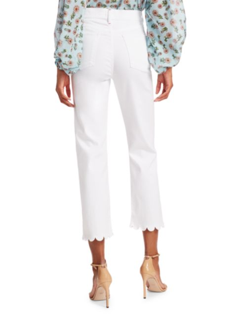 Alice + Olivia Jeans Stunning High-Rise Scallop Cropped Skinny Jeans   SaksFifthAvenue