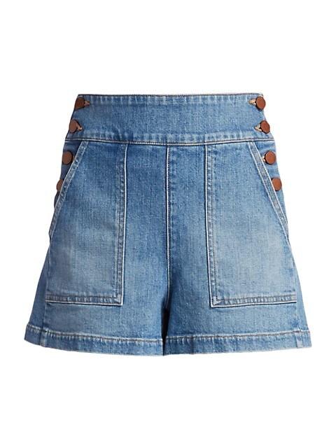 Donald Button-Side Denim Shorts