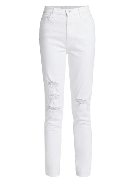 1212 Runway High-Rise Distressed Slim-Straight Jeans