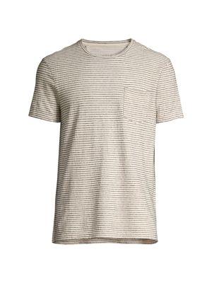 John Varvatos Mens Striped Short Sleeve Linen T-Shirt