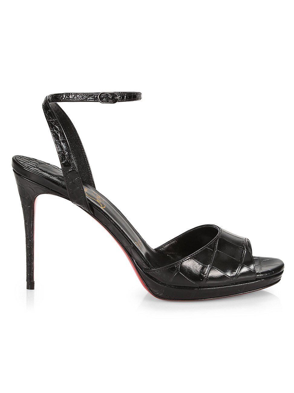 Christian Louboutin WOMEN'S LOUBILOO CROC-EMBOSSED LEATHER PLATFORM SANDALS
