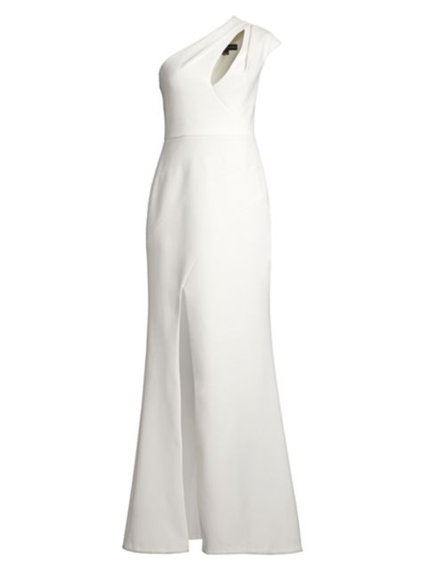 Aidan Mattox One-Shoulder Cutout Gown   SaksFifthAvenue