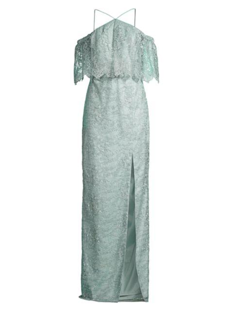 Aidan Mattox Lace Cold-Shoulder Gown   SaksFifthAvenue
