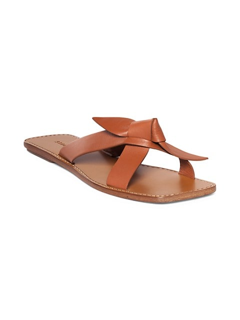 Lei Knotted Leather Slides
