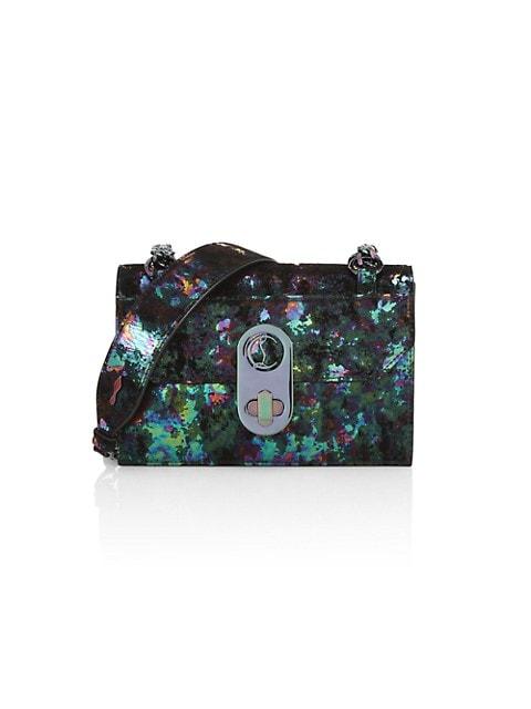 Mini Elisa Iridescent Leather & Suede Shoulder Bag