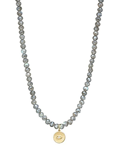 14K Yellow Gold, Labradorite & Diamond Evil Eye Charm Beaded Necklace