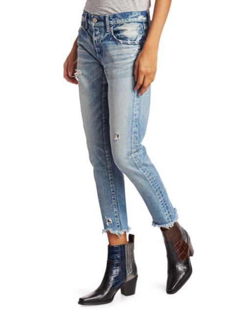 Moussy Vintage Kelley Mid-Rise Tapered Ankle Distressed Jeans | SaksFifthAvenue