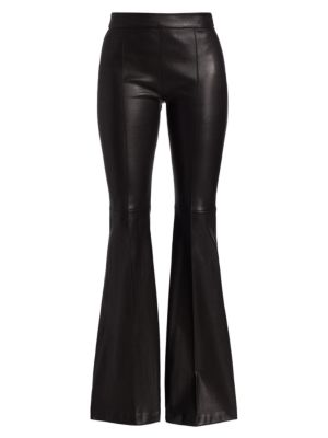 Rosetta Getty Pull-On Pintuck Leather Flare Pants