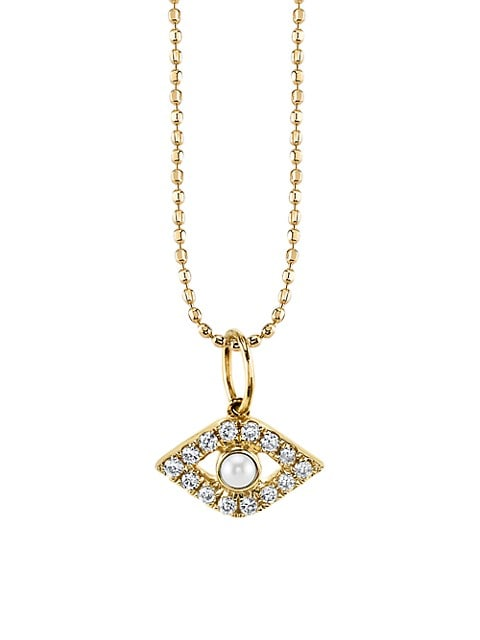 14K Yellow Gold, Diamond & Pearl Evil Eye Pendant Necklace