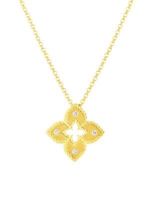 Roberto Coin Petite Venetian Extra Small 18k Yellow Gold Diamond Pendant Necklace Saks Com