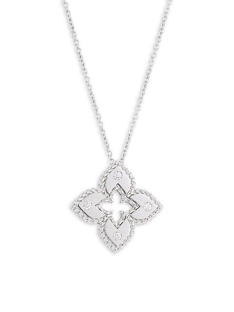 Petite Venetian Extra-Small 18K White Gold & Diamond Pendant Necklace