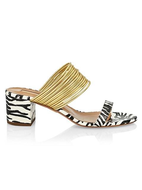 Rendez Vous Zebra-Stripe Snakeskin Mules