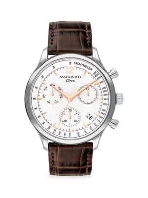 Movado Heritage Stainless Steel Croc-embossed Leather-strap Chronograph Watch In White Dial