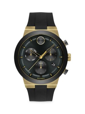 Movado Bold Fushion Ion-plated Stainless Steel Silocone-strap Chronograph Watch In Black Dial