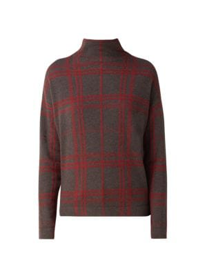 Akris Plaid Cashmere Mockneck Sweater