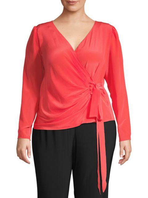 Baacal, Plus Size Portman Wrap Tie Silk Top   SaksFifthAvenue