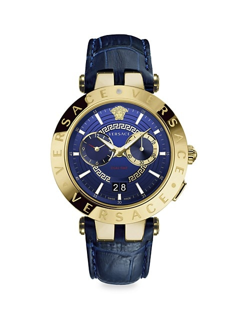 V-Race IP Yellow Gold Leather Strap Watch