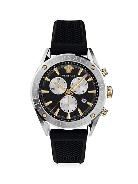 V-Chrono Stainless Steel IP Yellow Gold Silicone Strap Watch