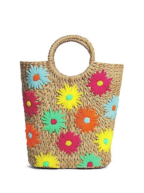 Susan Floral-Embroidered Basket Bucket Tote