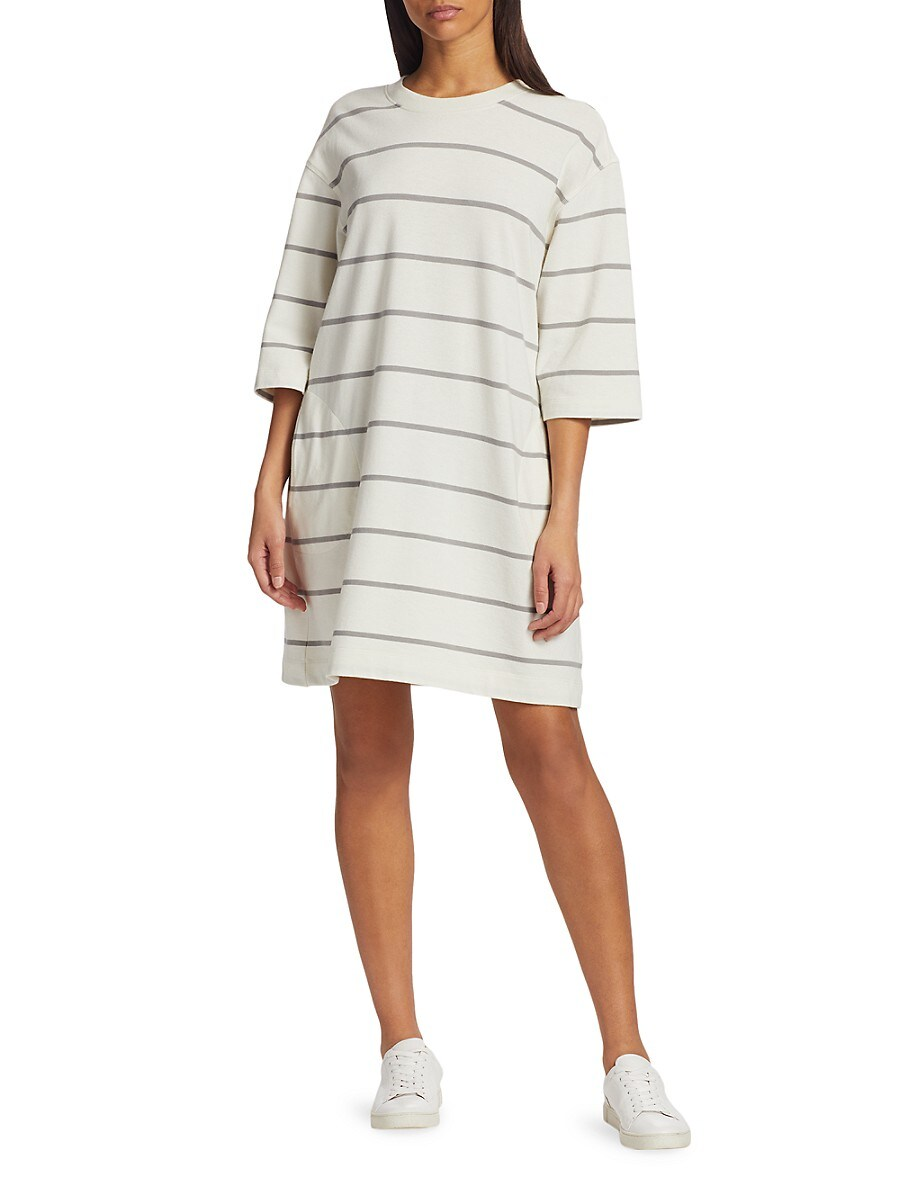 ATM ANTHONY THOMAS MELILLO Cottons WOMEN'S PLAITED JERSEY STRIPE T-SHIRT DRESS