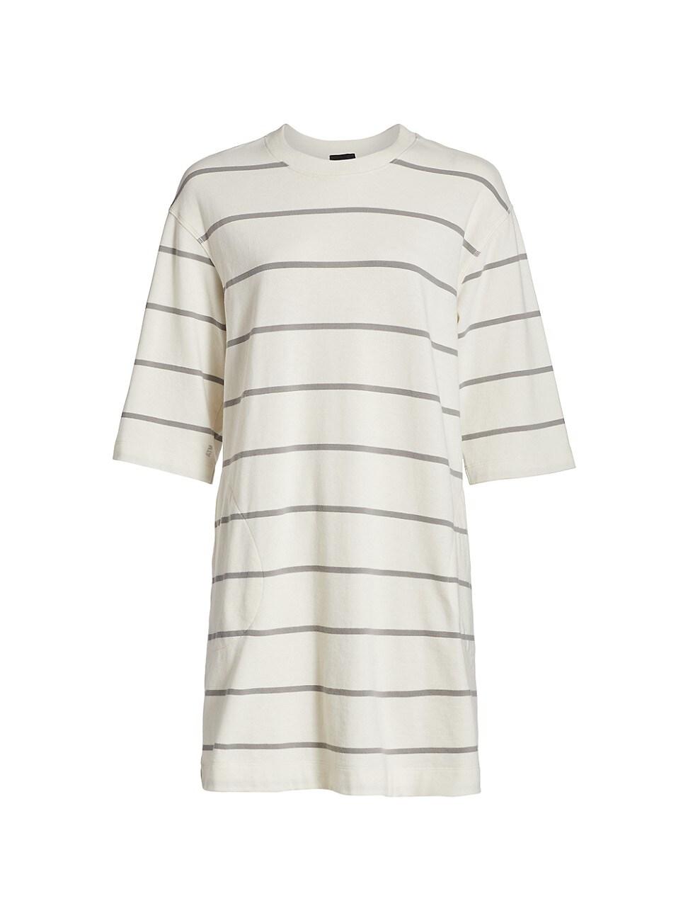 Atm Anthony Thomas Melillo WOMEN'S PLAITED JERSEY STRIPE T-SHIRT DRESS