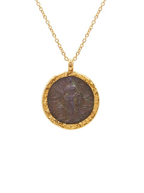 Antiquities 18K, 22K & 24K Yellow Gold Roman Coin Pendant Necklace