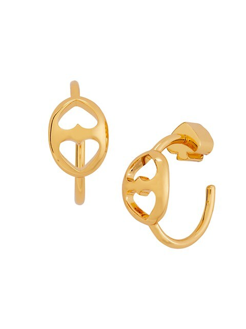 Small Goldplated Duo Heart Link Hoop Earrings