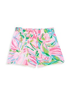 NWT athletic french shorts pink stripe GIRLS size 14