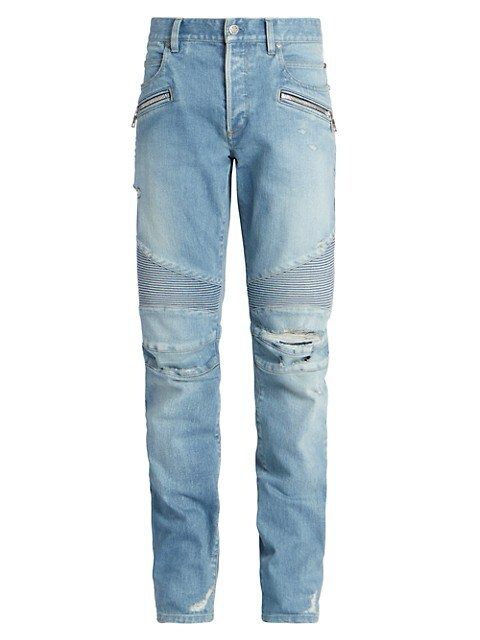 Ribbed Tapered Moto Jeans