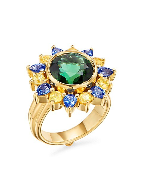 Dreamcatcher 18K Yellow Gold, Green Tourmaline, Blue & Yellow Sapphire Ring