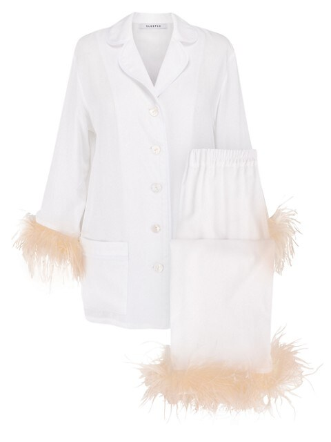 2-Piece Ostrich Feather Trim Pajama Set