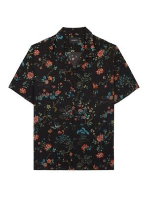 Queen of Cases Magnolia Spring Flowers Mens Button Down Short Sleeve Shirt