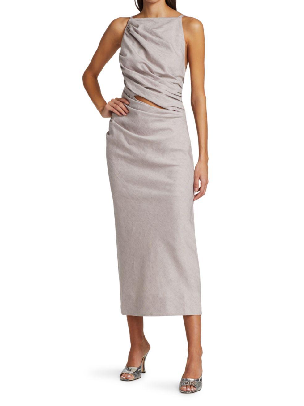 Jacquemus Tendino Linen-Blend Draped Midi Dress   SaksFifthAvenue