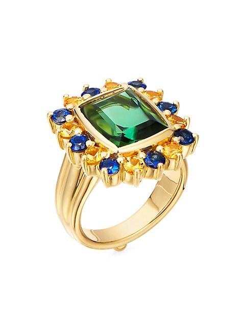 Dreamcatcher 18K Yellow Gold, Green Tourmaline, Yellow & Blue Sapphire Cocktail Ring