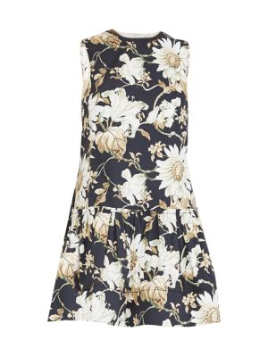 Oscar De La Renta Sleeveless Daisy-Print Drop-Waist Dress