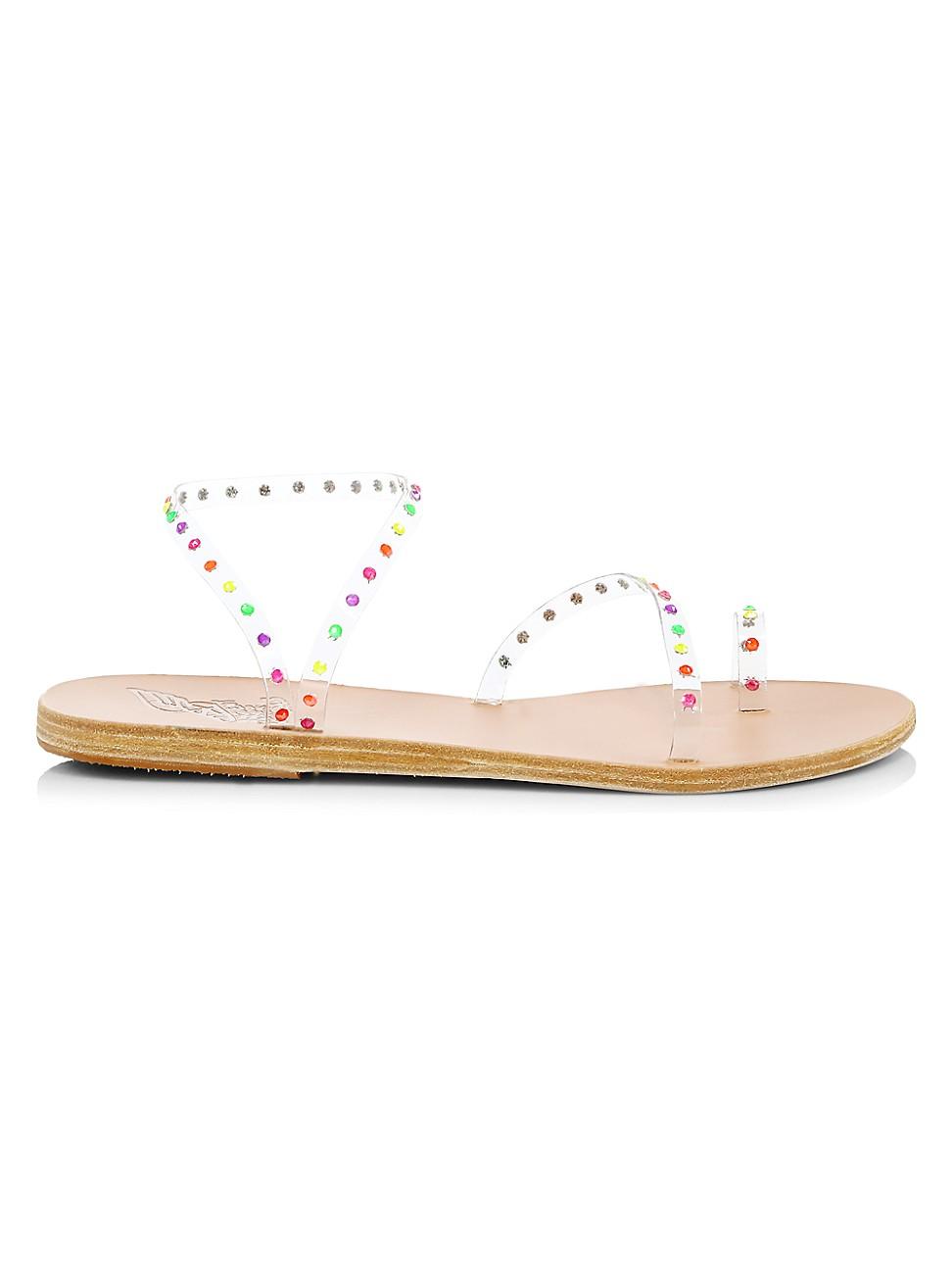 Ancient Greek Sandals WOMEN'S APLI ELEFTHERIA CRYSTAL-EMBELLISHED VINYL SANDALS