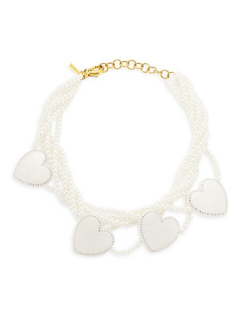 Heart Faux Pearl Strand Necklace