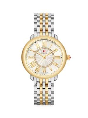 Michele Women's Serein Mid Two-tone Diamond Bracelet Watch In Stainless Steel