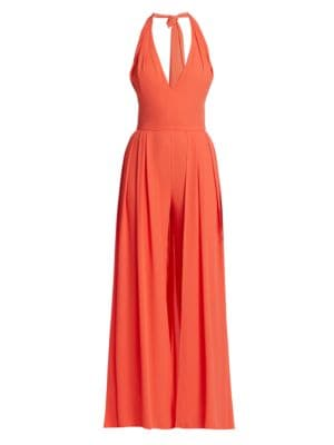 Halston Halter Pleated Jumpsuit
