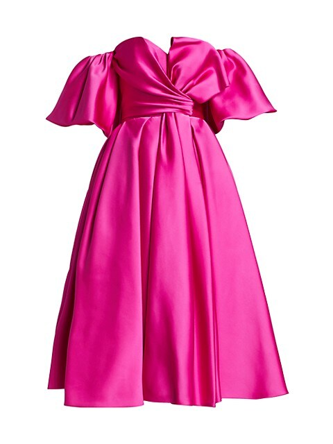 Off-The-Shoulder Silk Bow Cocktail Dress