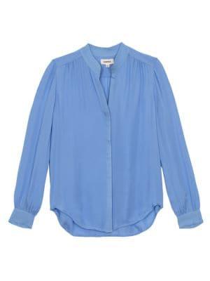 L Agence Women's Bianca Silk Blouse In Seaside Blue