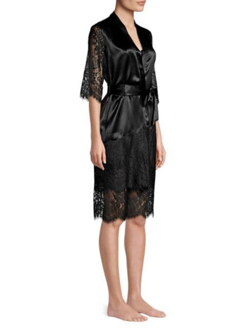 Ginia Blaise Silk Lace Robe | SaksFifthAvenue