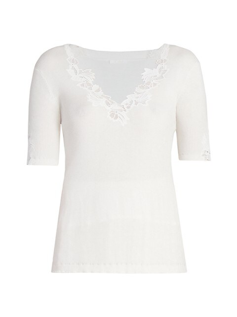 Floral-Trimmed Cotton Ribbed T-Shirt