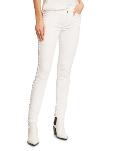 7 For All Mankind Braided Trim Ankle Skinny Jeans   SaksFifthAvenue