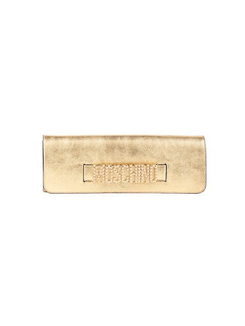 Embellished Logo Metallic Clutch