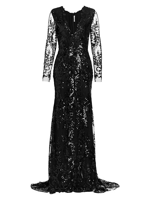 Plunging Sequin Lace Long Sleeve Gown