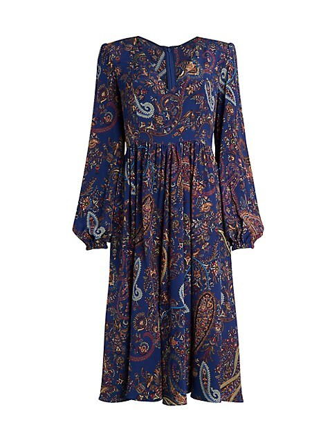Ardennes Paisley Silk Midi Dress